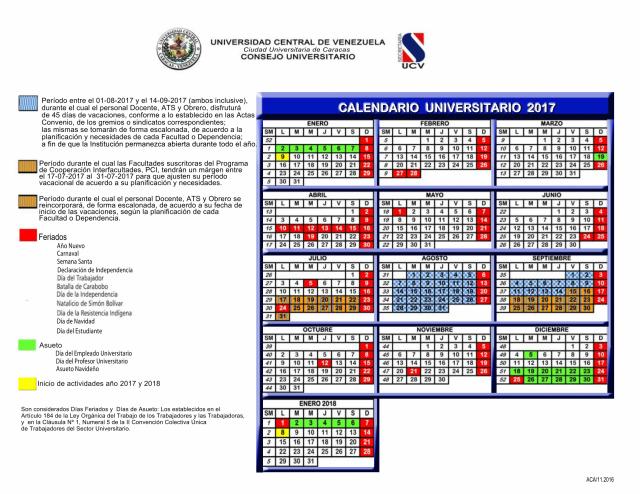 Calendario Universitario UCV 2017
